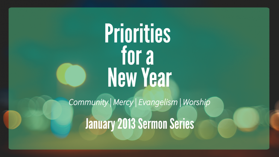 Priorities for a New Year (2013)